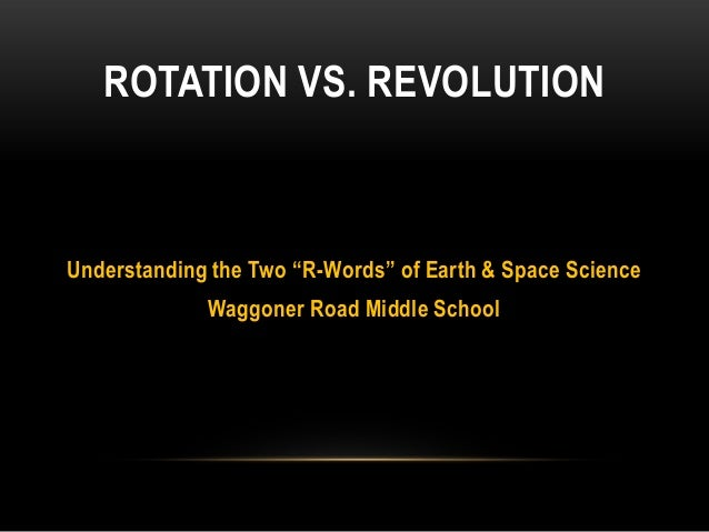 "ROTATION VS. REVOLUTIONUnderstanding the Two ""R-Words"" of Earth & Space Science             Waggoner Road Middle School"