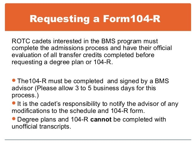 BMS Information for ROTC Students