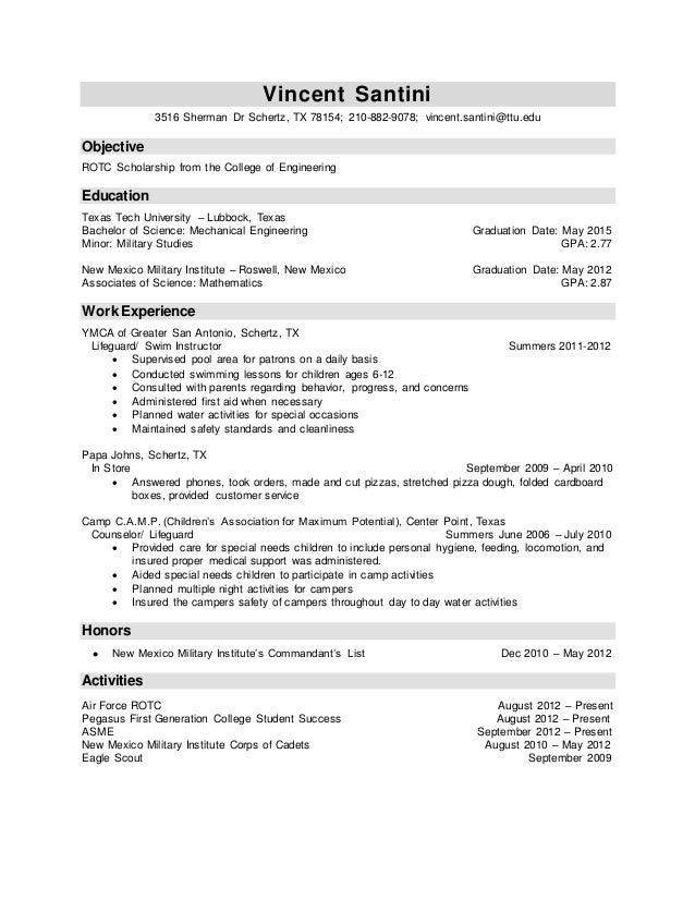 Rotc scholarship resume