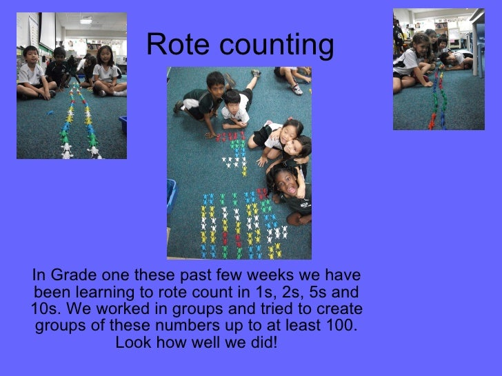 Rote counting In Grade one these past few weeks we have been learning to rote count in 1s, 2s, 5s and 10s. We worked in gr...