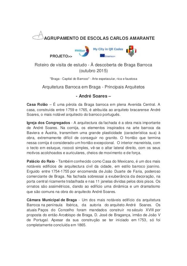 AGRUPAMENTO DE ESCOLAS CARLOS AMARANTE PROJETO>> Roteiro de visita de estudo - À descoberta de Braga Barroca (outubro 2015...