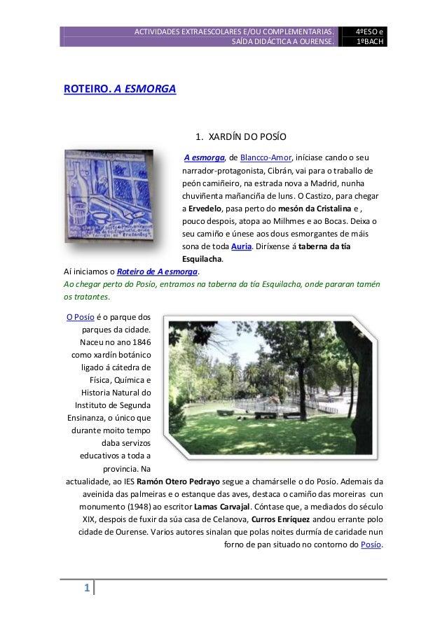 ACTIVIDADES EXTRAESCOLARES E/OU COMPLEMENTARIAS.             4ºESO e                                          SAÍDA DIDÁCT...