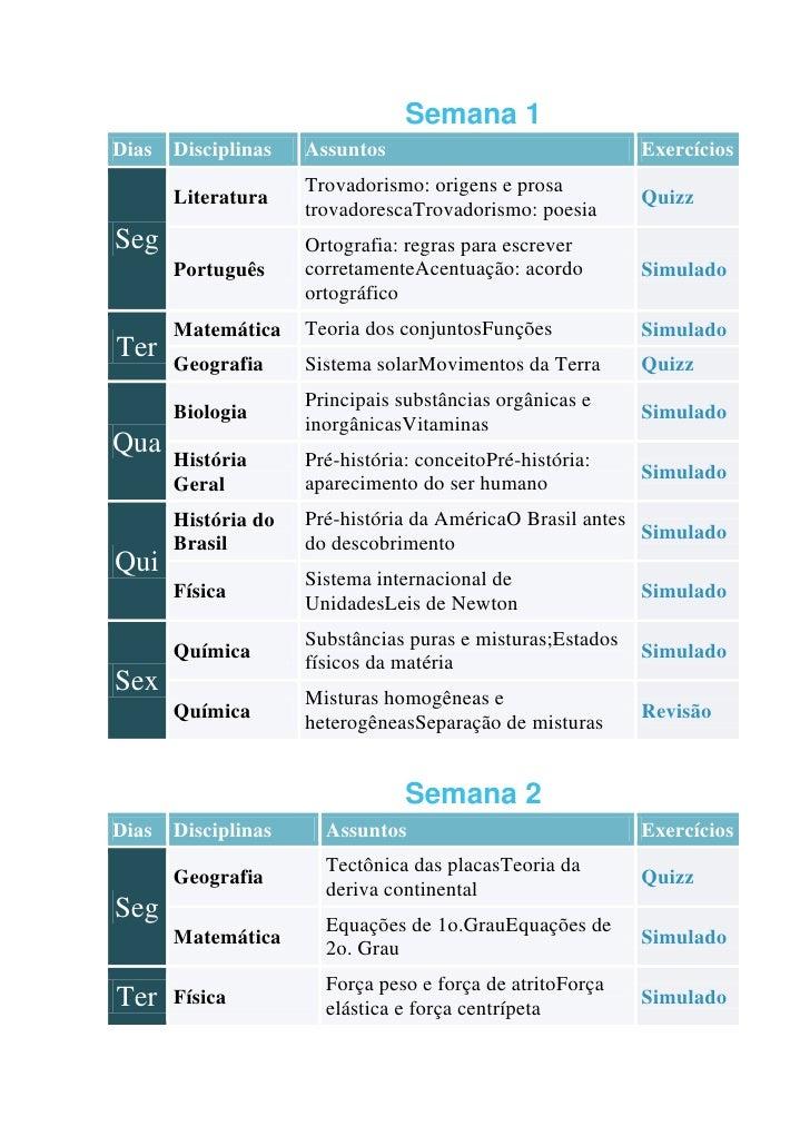Roteiro de estudos / Semana 1Dias   Disciplinas   Assuntos                               Exercícios                     Tr...