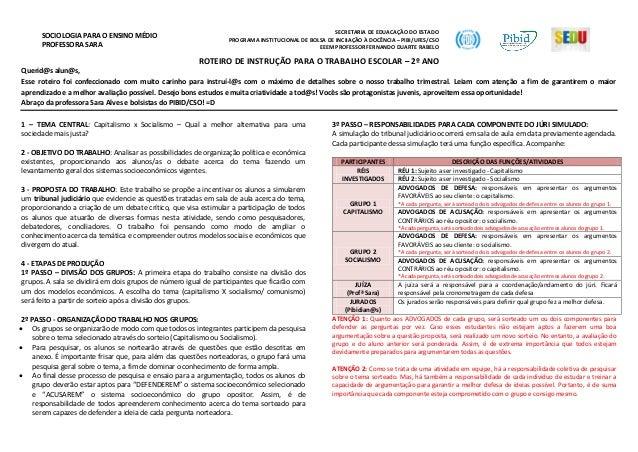 SOCIOLOGIA PARA O ENSINO MÉDIO PROFESSORA SARA SECRETARIA DE EDUACAÇÃO DO ESTADO PROGRAMA INSTITUCIONAL DE BOLSA DE INCIIA...