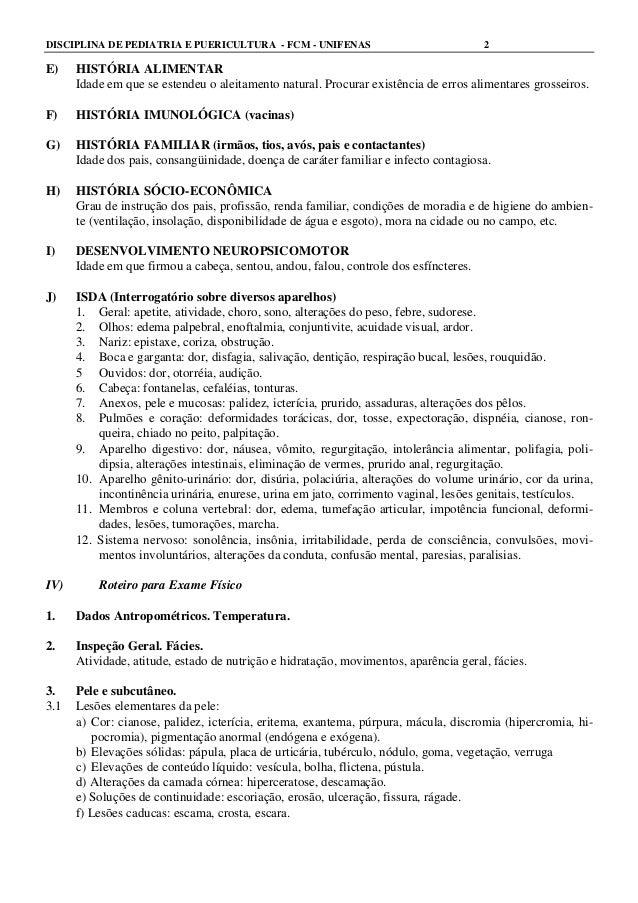 Roteiro para exame clínico em pediatria