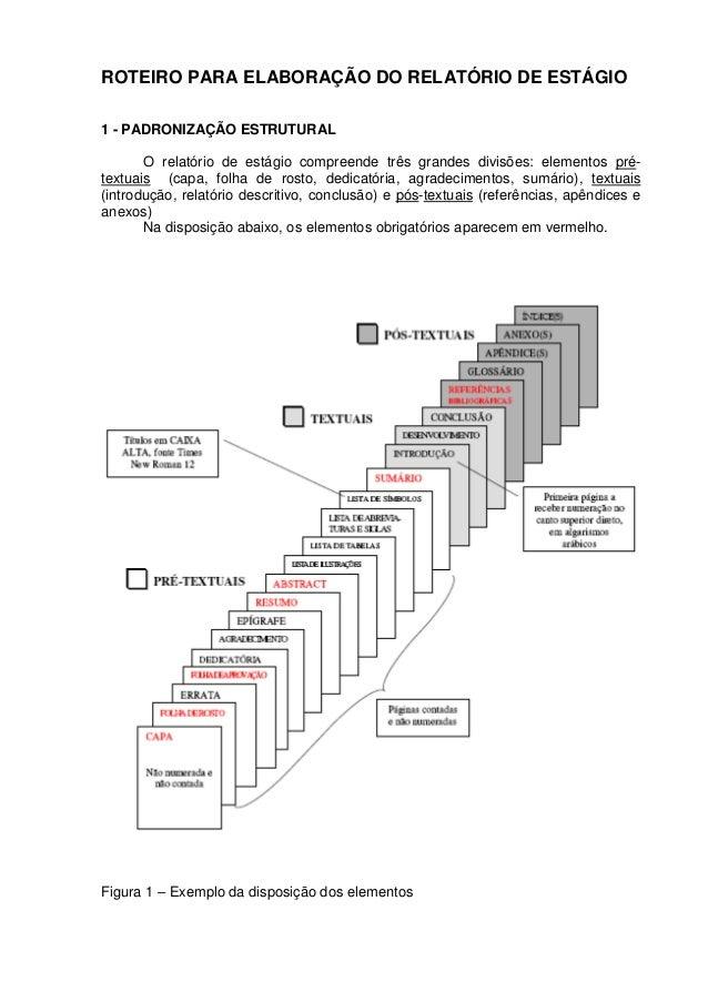 ROTEIRO PARA ELABORAÇÃO DO RELATÓRIO DE ESTÁGIO 1 - PADRONIZAÇÃO ESTRUTURAL O relatório de estágio compreende três grandes...