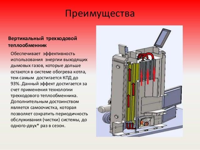 Преимущества Вертикальный трехходовой теплообменник Обеспечивает эффективность использования энергии выходящих дымовых газ...