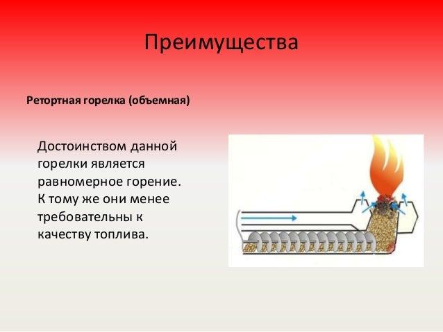 Преимущества Ретортная горелка (объемная) Достоинством данной горелки является равномерное горение. К тому же они менее тр...