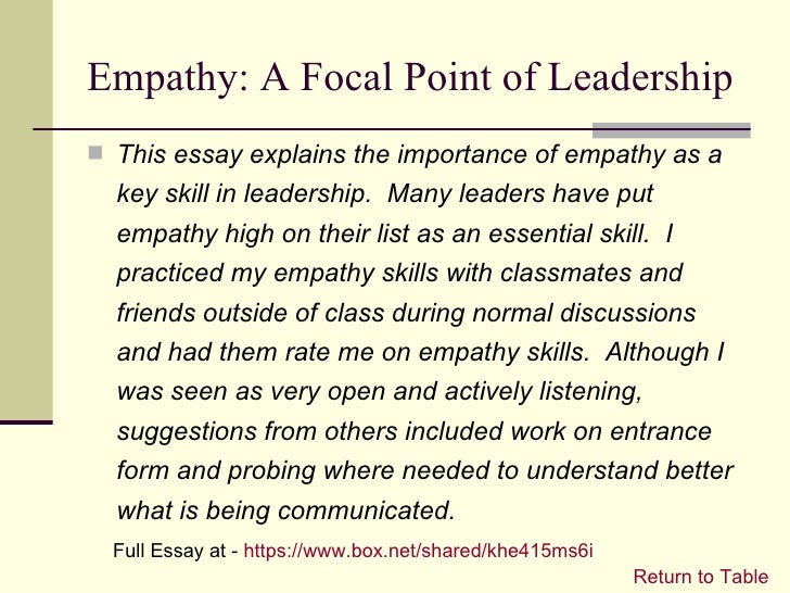 leadership portfolio empathy