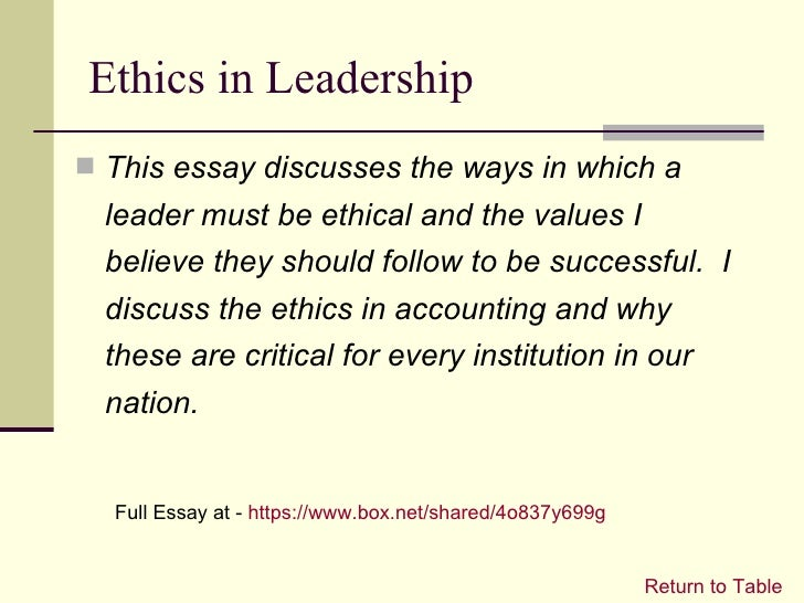 ethical values essay