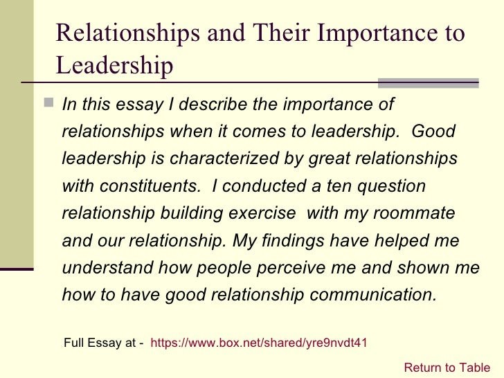 essay describing leadership experience