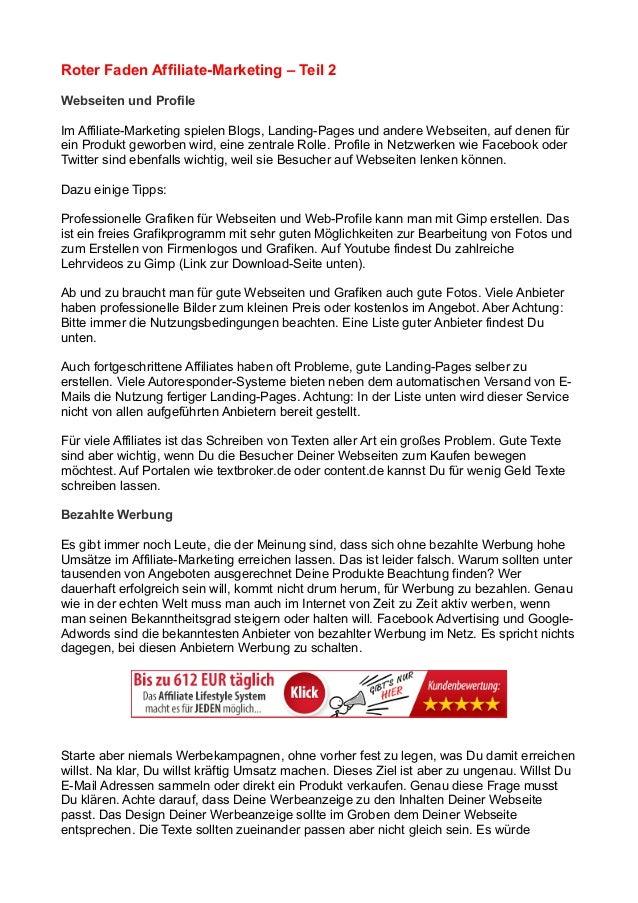 Roter Faden Affiliate-Marketing – Teil 2 Webseiten und Profile Im Affiliate-Marketing spielen Blogs, Landing-Pages und and...