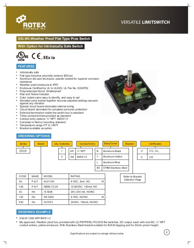 Rotex Controls Industrial Nema 4 And Nema 7 Limit Switch