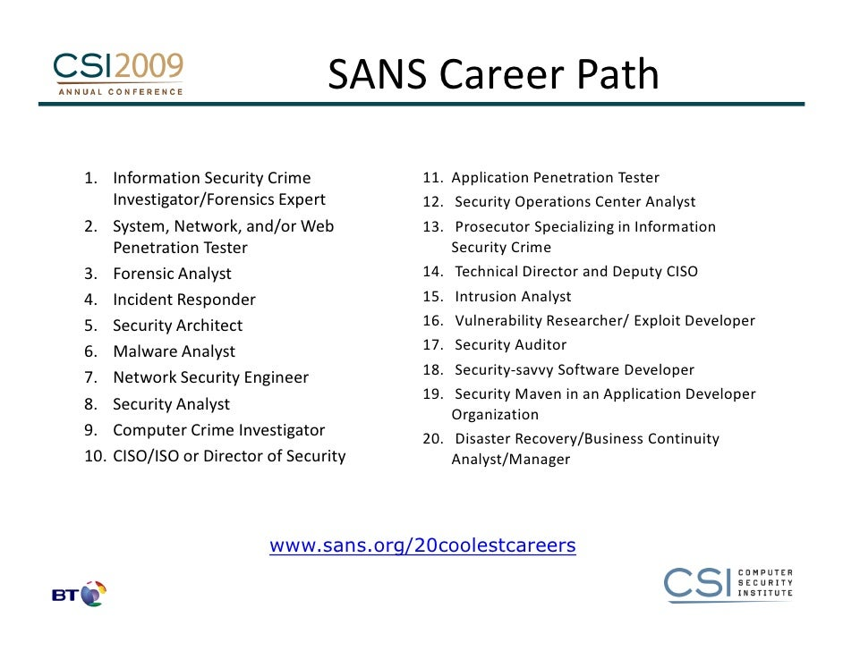 a career as an information security Given below are brief notes about the tasks, qualifications, typical employers and  salary, career path, and job prospects of information security specialists.