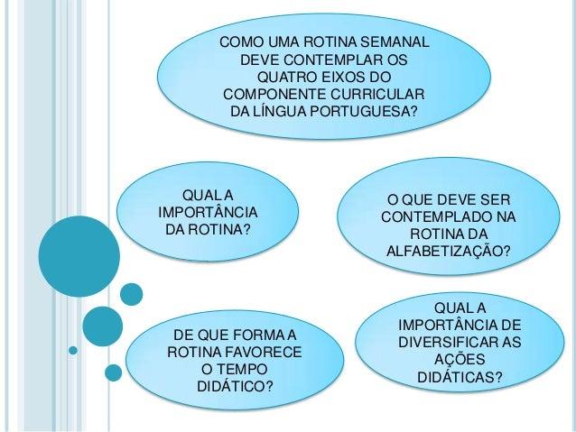 QUAL A IMPORTÂNCIA DA ROTINA? COMO UMA ROTINA SEMANAL DEVE CONTEMPLAR OS QUATRO EIXOS DO COMPONENTE CURRICULAR DA LÍNGUA P...