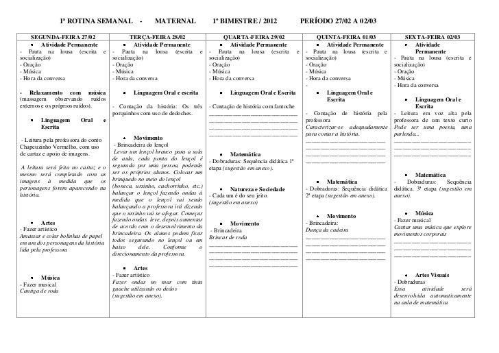 1ª ROTINA SEMANAL                   -     MATERNAL                1º BIMESTRE / 2012                       PERÍODO 27/02 A...