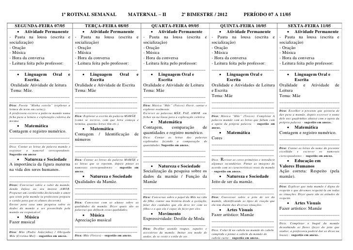 1ª ROTINAL SEMANAL                            MATERNAL – II                         2º BIMESTRE / 2012                    ...