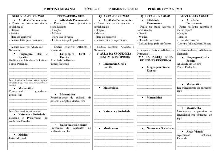 1ª ROTINA SEMANAL                     NÍVEL – I            1º BIMESTRE / 2012              PERÍODO 27/02 A 02/03   SEGUNDA...