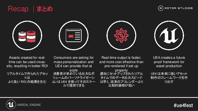 #ue4fest#ue4fest Recap   まとめ Assets created for real- time can be used cross- silo, resulting in better ROI Consumers are ...