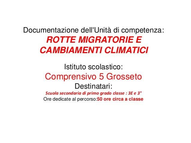 Documentazione dell'Unità di competenza: ROTTE MIGRATORIE E CAMBIAMENTI CLIMATICI Istituto scolastico: Comprensivo 5 Gross...