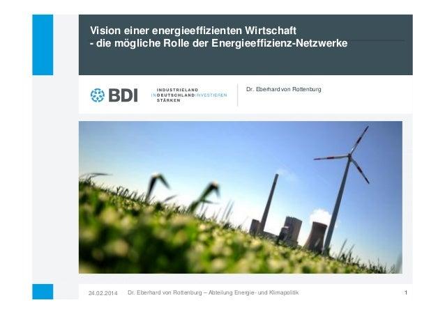 Vision einer energieeffizienten Wirtschaft - die mögliche Rolle der Energieeffizienz-Netzwerke  Dr. Eberhard von Rottenbur...