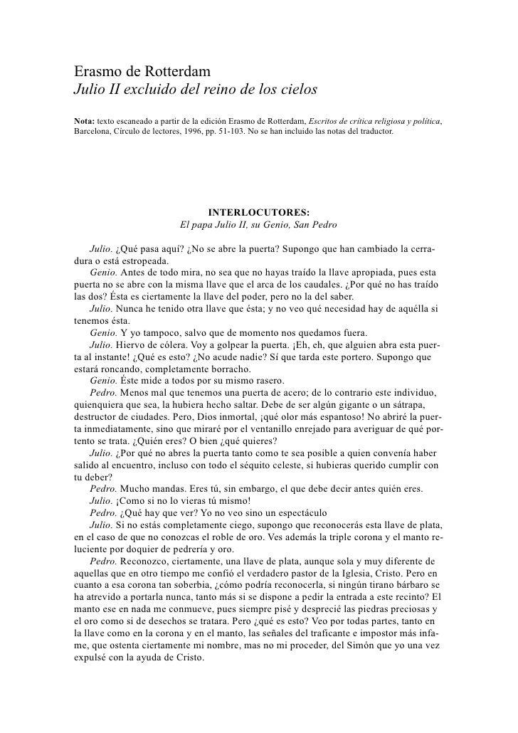 Erasmo de RotterdamJulio II excluido del reino de los cielosNota: texto escaneado a partir de la edición Erasmo de Rotterd...