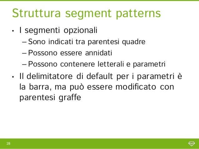 Struttura segment patterns     •   I segmenti opzionali         – Sono indicati tra parentesi quadre         – Possono ess...