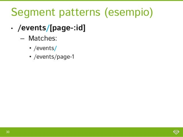 Segment patterns (esempio)     •   /events/[page-:id]         – Matches:            • /events/            • /events/page-130