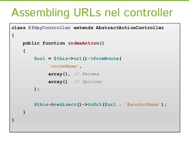 Assembling URLs nel controllerclass ZfdayController extends AbstractActionController{    public function indexAction()    ...