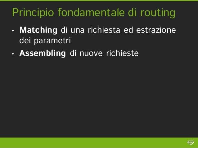 Principio fondamentale di routing•   Matching di una richiesta ed estrazione    dei parametri•   Assembling di nuove richi...