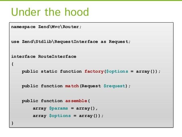 Under the hoodnamespace ZendMvcRouter;use ZendStdlibRequestInterface as Request;interface RouteInterface{    public static...