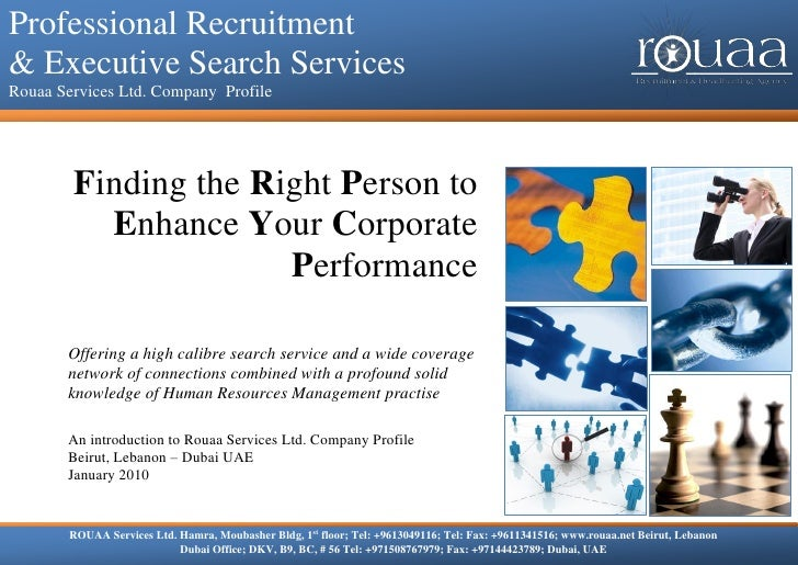 Professional Recruitment & Executive Search Services Professional Recruitment   Rouaa Services Ltd. Company Profile    & E...