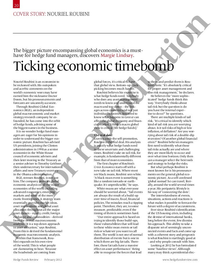 20  Cover story: Nouriel roubiNi                  n               tio  The bigger picture encompassing global economics is...