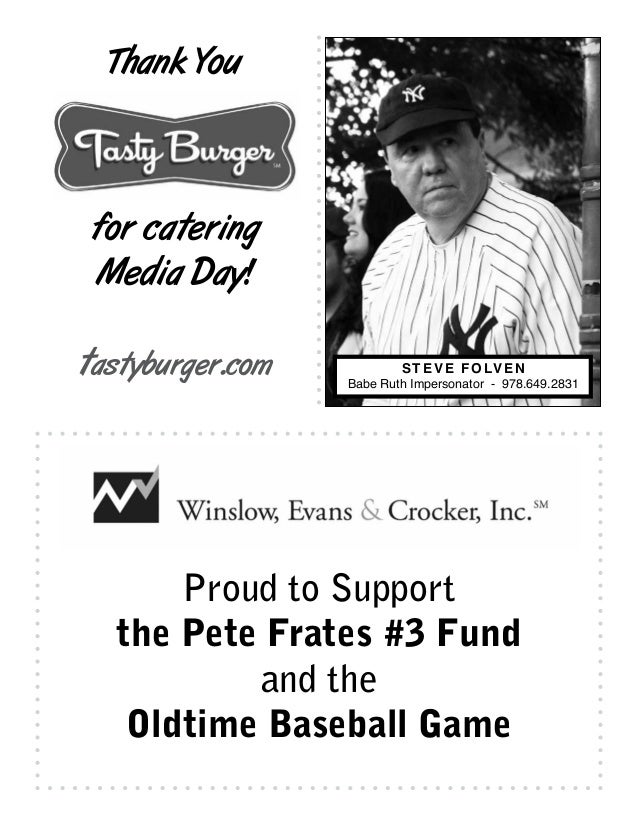 Proud to Support the Oldtime Baseball Game and the Peter Frates #3 Fund & ALS TDI The Reghitto Family Brian & Kristen Nove...