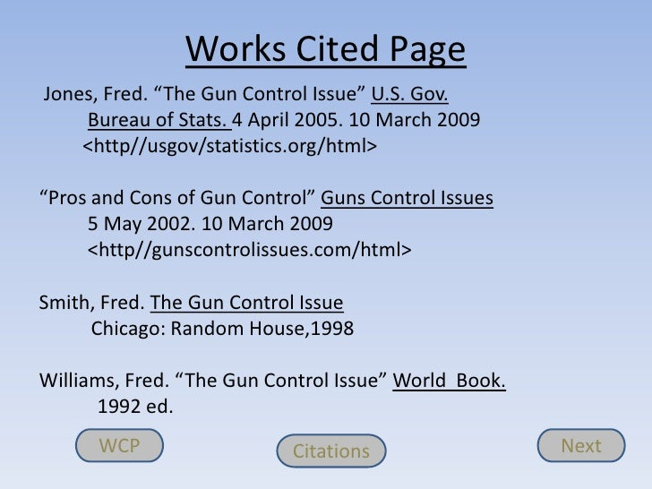 gun control works cited