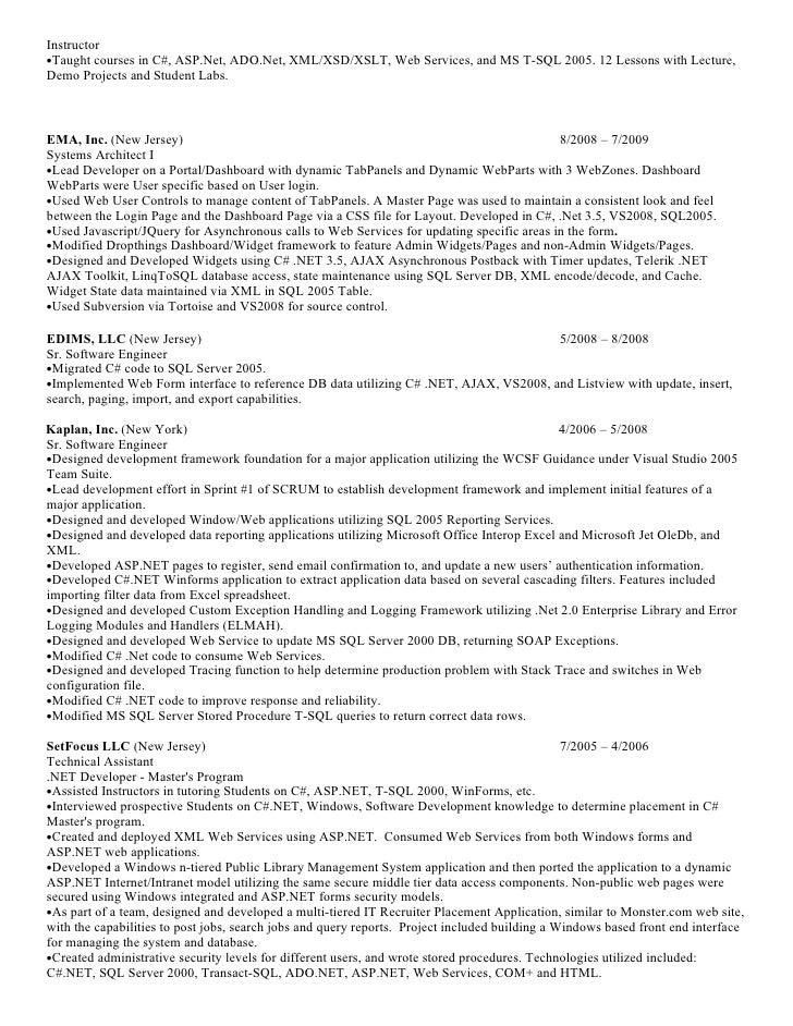 resume asp web developer 28 images software developer