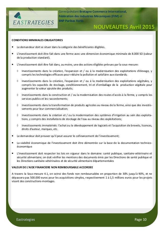 Eastrategies Page 10 NOUVEAUTES Avril 2015 Correspondant Bretagne Commerce International, Fédération des Industries Mécani...