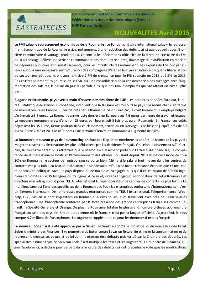 Eastrategies Page 5 Le FMI salue le redressement économique de la Roumanie : Le Fonds monétaire international salue « le r...