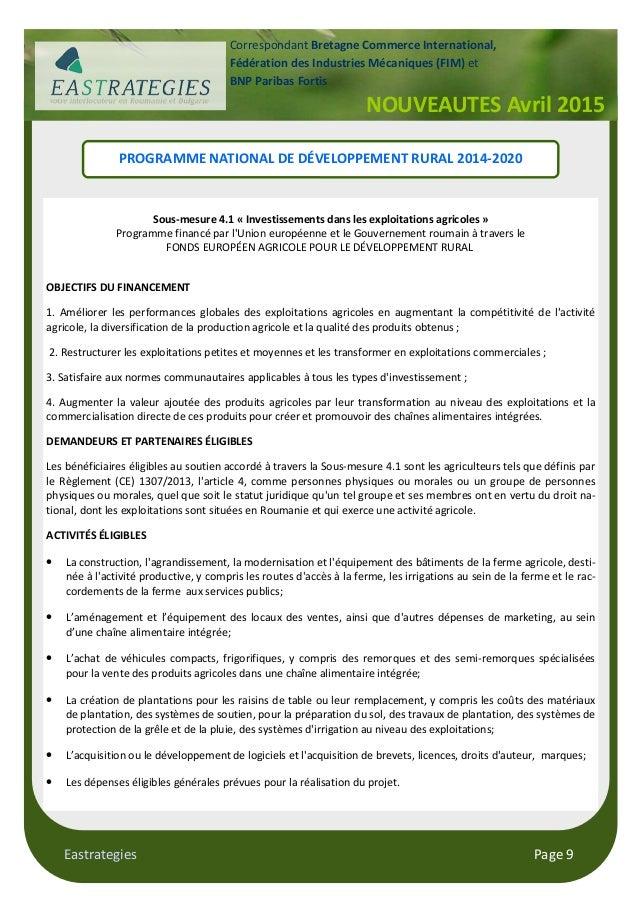 Eastrategies Page 9 NOUVEAUTES Avril 2015 Correspondant Bretagne Commerce International, Fédération des Industries Mécaniq...