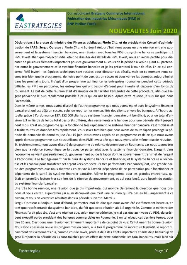 Eastrategies Page 10 NOUVEAUTES Juin 2020 Correspondant Bretagne Commerce Interna onal, Fédéra on des Industries Mécanique...