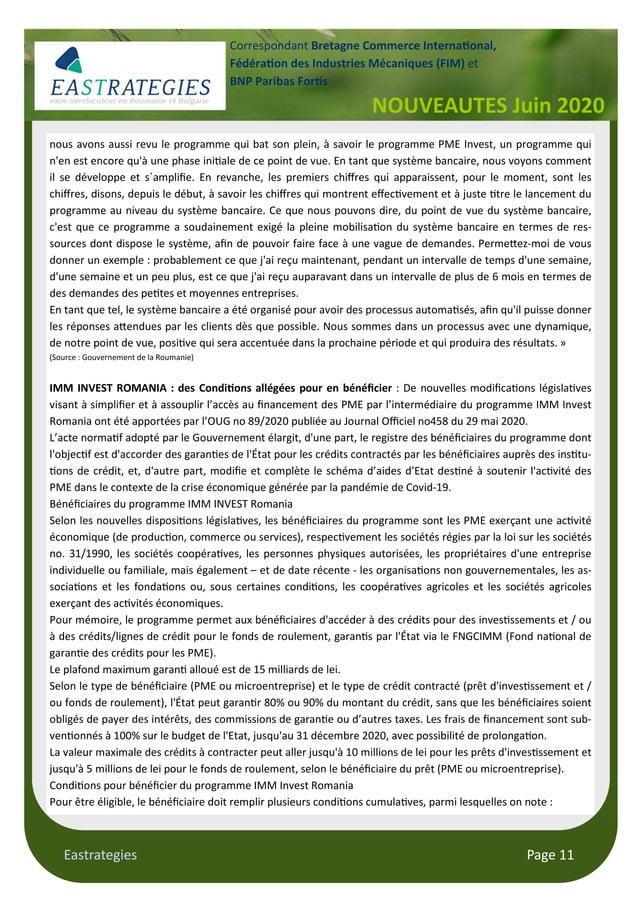Eastrategies Page 11 NOUVEAUTES Juin 2020 Correspondant Bretagne Commerce Interna onal, Fédéra on des Industries Mécanique...