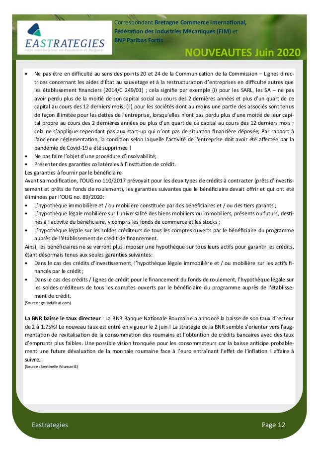 Eastrategies Page 12 NOUVEAUTES Juin 2020 Correspondant Bretagne Commerce Interna onal, Fédéra on des Industries Mécanique...