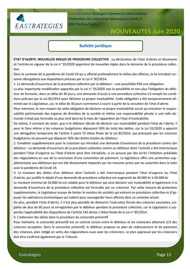Eastrategies Page 13 NOUVEAUTES Juin 2020 Correspondant Bretagne Commerce Interna onal, Fédéra on des Industries Mécanique...