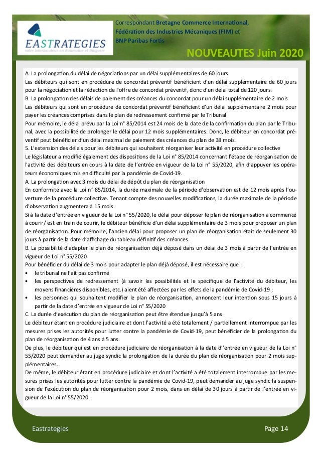 Eastrategies Page 14 NOUVEAUTES Juin 2020 Correspondant Bretagne Commerce Interna onal, Fédéra on des Industries Mécanique...