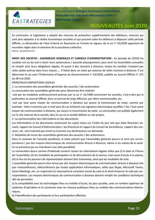 Eastrategies Page 15 NOUVEAUTES Juin 2020 Correspondant Bretagne Commerce Interna onal, Fédéra on des Industries Mécanique...