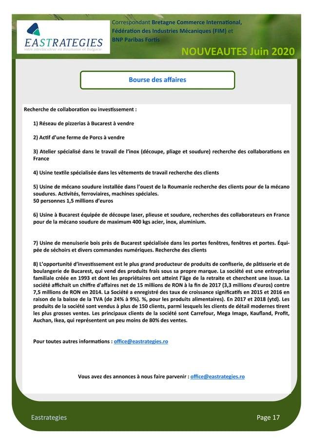 Eastrategies Page 17 NOUVEAUTES Juin 2020 Correspondant Bretagne Commerce Interna onal, Fédéra on des Industries Mécanique...