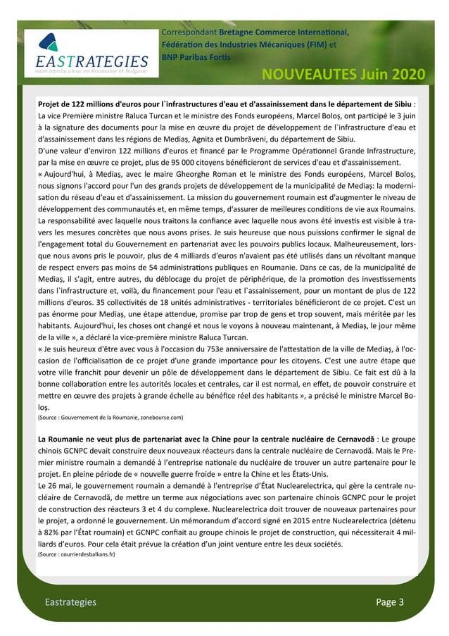 Eastrategies Page 3 NOUVEAUTES Juin 2020 Correspondant Bretagne Commerce Interna onal, Fédéra on des Industries Mécaniques...
