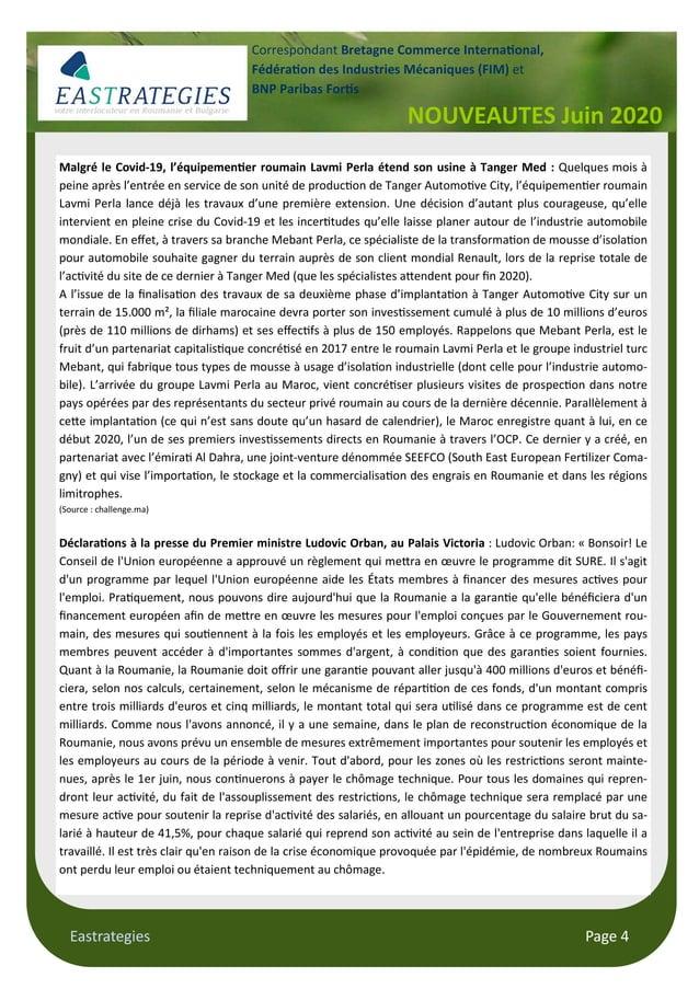 Eastrategies Page 4 NOUVEAUTES Juin 2020 Correspondant Bretagne Commerce Interna onal, Fédéra on des Industries Mécaniques...