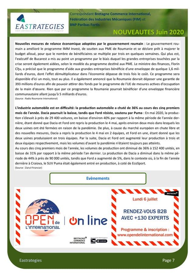 Eastrategies Page 7 Nouvelles mesures de relance économique adoptées par le gouvernement roumain : Le gouvernement rou- ma...