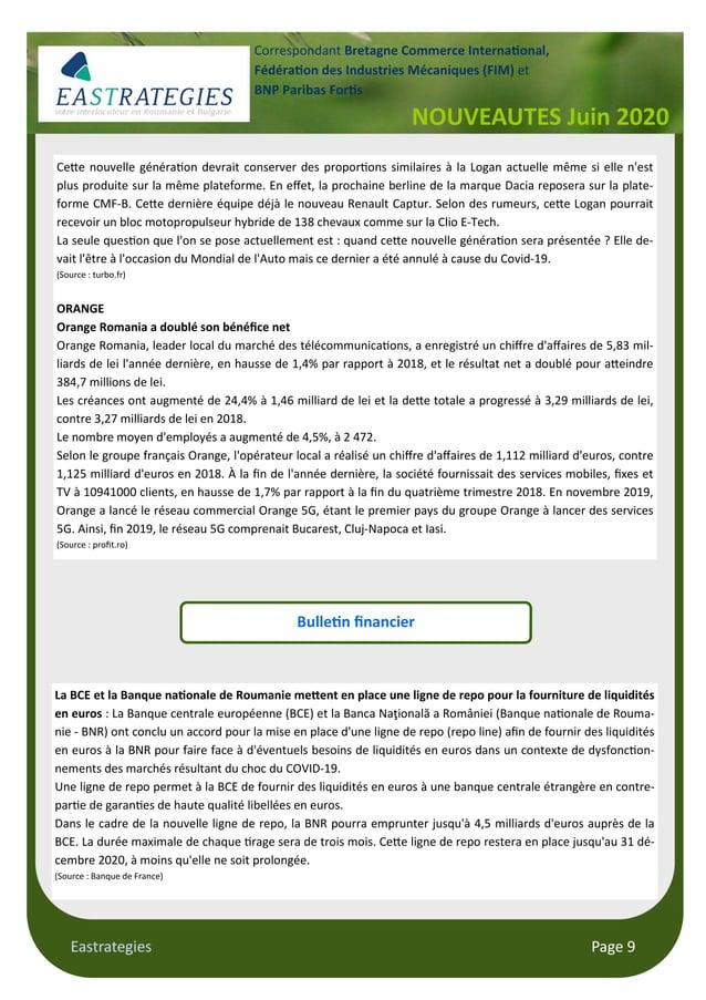 Eastrategies Page 9 NOUVEAUTES Juin 2020 Correspondant Bretagne Commerce Interna onal, Fédéra on des Industries Mécaniques...